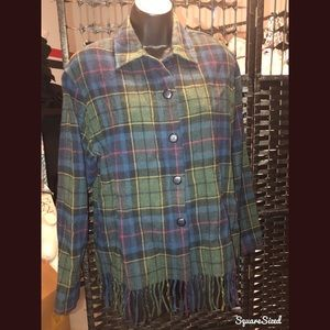 Plaid button down jacket cozy liteweight